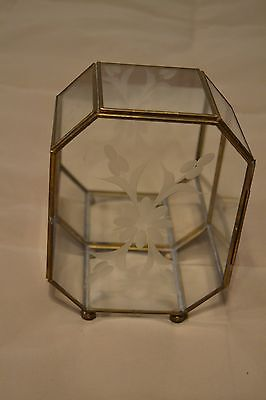 "6.5"" Vintage 8-Sided Brass & Glass Mirror Back Display Dome-Case-Curio-Cabinet"