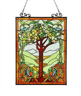 PAIR Tree of Life Tiffany Style Stained Glass Window Panel 18 x 25 Handcrafted