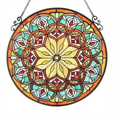 "23.4"" Round Window Panel Victorian Design Stained Glass ~LAST ONE THIS PRICE~"