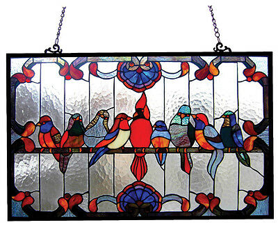"""Tiffany Style Singing Birds Stained Glass Window Panel 32"""" Long x 20"""" High"""