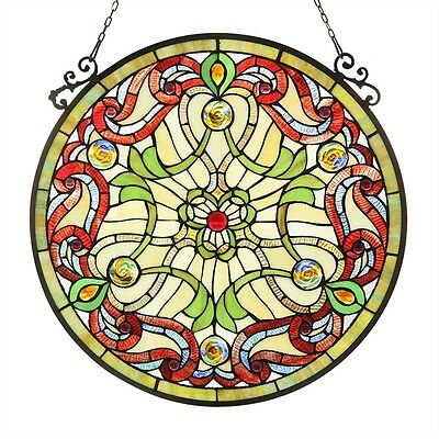 "Handcrafted  Victorian Tiffany Style Stained Glass 23.4"" Round Window Panel"