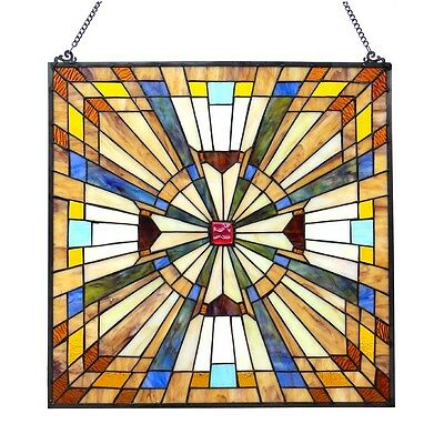 Matching PAIR Stained Glass Tiffany Style Window Panels Mission Design 24 x 24