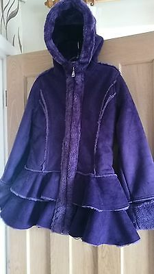 Girls purple faux suede coat with hood