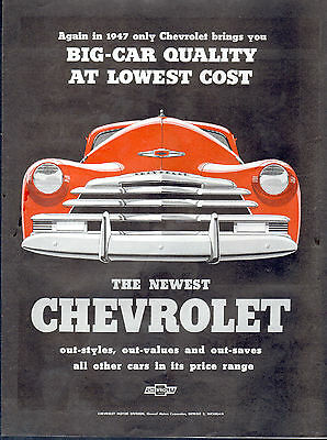 """1947 Chevrolet Car ad  """"The Newest Chevrolet""""-0-708"""