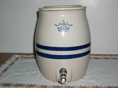 Vintage 2 Gallon CROWN Blue Stripe Crock with Spigot and Cover