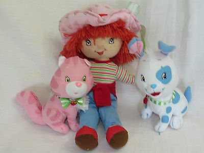3 Pc Strawberry Shortcake Stuffed Animal Set Plush Toys Cat Dog Custard Pupcake