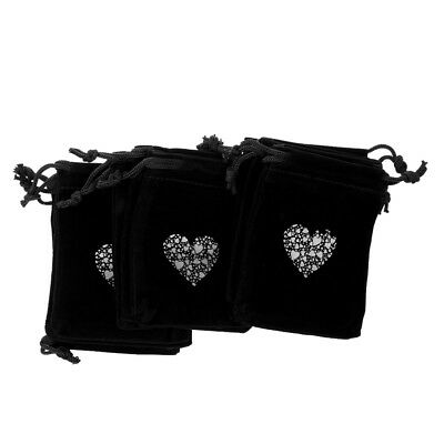 10x Wedding Heart Candy Jewelry Velvet Drawstring Gift Bags Pouches Black