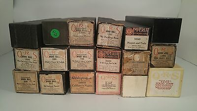18 VINTAGE PLAYER PIANO WORD ROLLS ROLLS SIGNED QRS / Imperial