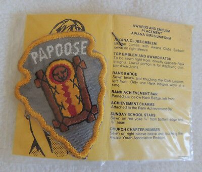 Vintage Awana Papoose Badge still in package
