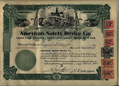 American Safety Device Co. Stock Certificate New York