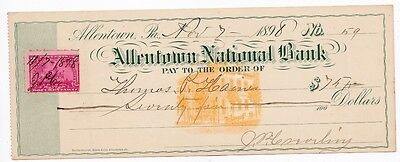 1898 Antique Check Allentown Pa National Bank Pennsylvania With Revenue Stamp