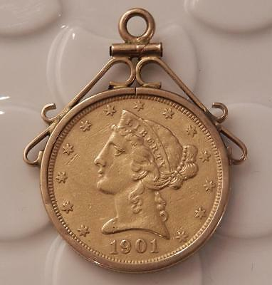 1901-S $5 Five Dollar Gold Piece 1/2 Eagle in Anitque 10K Bezel Watch Fob  A878A