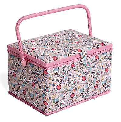 LARGE Sewing Box - Fabric sewing Basket with Handle & Tray Hobbygift Notions