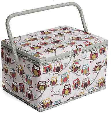 LARGE Sewing Box - Fabric sewing Basket with Handle & Tray Hobbygift HOOT Owls