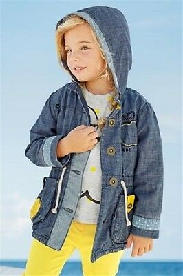 BNWT NEXT Baby Girls Blue & Yellow Chambray Apple Coat Jacket 9-12 M RRP £25