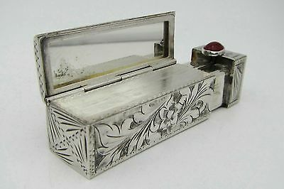 Vintage 50's Italy Engraved 800 Silver Lipstick Carnelian Stone Case / Compact