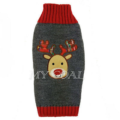 Dog Clothes Christmas Puppy Cat Winter Sweater knit Jumper Reindeer Coat Costume