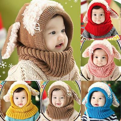 Cute Baby Toddler Girls Boys Warm Hat Winter Earflap Knitted Cap Coif Hood Scarf