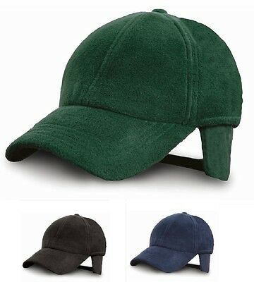 GREEN BLACK or BLUE Fleece Low Profile Baseball Cap Hat with foldable Earflaps