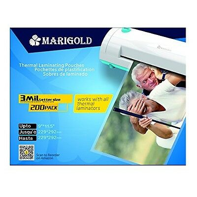 "Marigold 200-Pack Count 3 Mil Letter Size, 9""x11.5"", Thermal Laminating Pouch"