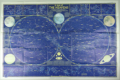 1957 Astrology Map Star Charts Zodiac Signs Constellations Astronomy Celestial