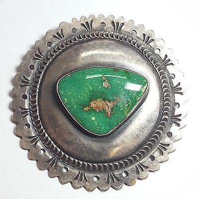 Paul Begay Navajo Sterling Silver Stone Mountain Turquoise Concho Pin 2631