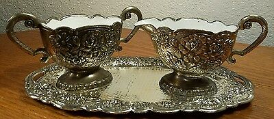 Silver Plated 3 Piece Rose Design Creamer, Sugar Bowl & Tray Set VERY DETAILED