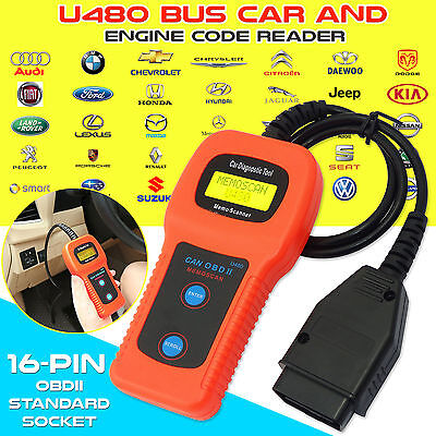 OBD2 EOBD Car Fault Code Reader Engine Diagnostic Scanner Reset Scan Tool U480