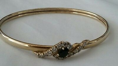 9ct Gold Bangle with Blue and white Sapphires