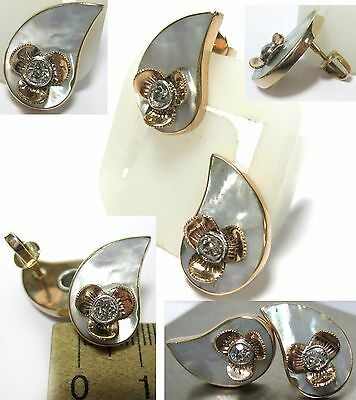 Antique EARRINGS 14K GOLD Brilliants Stones mother of pearl Russia Last Century