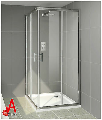 900 x 900x1900mm Square Corner Sliding Shower Screen Enclosure Cubical with Base
