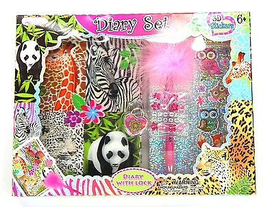 Girls Lockable Diary Animals Diary Gift Set - New With Lock Stickers Pen Journal