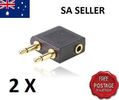 2 X Airplane Airline Headphone Travel Adapter Audio Jack Earphone AU SA Seller