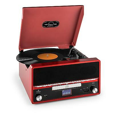 New  Retro Red Vinyl Record Stereo System Fm Radio Cd Mp3 - Usb Turntable