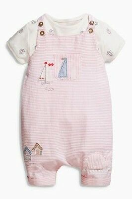 BNWT NEXT Baby Girls Pink Boat Short Dungaree Playsuit & Vest Set 12-18 Months