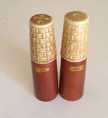 Vintage / Retro Salt and Pepper Shakers Ceramic and wood 1960's Brown Gold