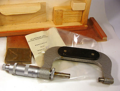 "Micrometer 25-50 mm (1-2"") Soviet Screw thread  0,01 mm (Metric thread) USSR NOS"