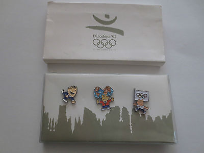 Barcelona 1992 Summer Olympic Games Official Mascot Cobi 3 Pin Badges In Case