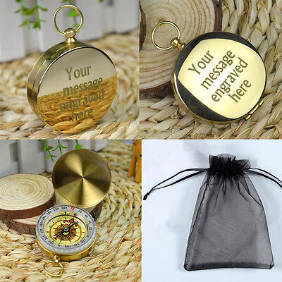 Personalised Engraved Classic Brass Camping Compass Pocket Watch Outdoor Tools
