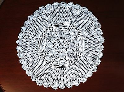 "Handmade large white vintage doilie doily doiley crochet round 20"" 51cm"