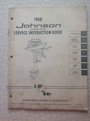 Johnson 5Hp 1968 Outboard Service Repair And Instruction Book