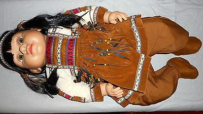 """NEW, American Southwest Indian Baby Girl Doll 21"""", Much Detail, Soft Body Fast S"""