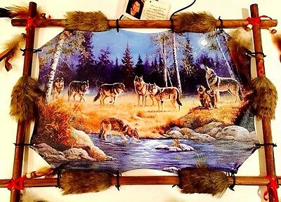 "Canvas Craft Rectangular Dream Catcher Wall Print Wolves Forest At Lake 22"" Long"