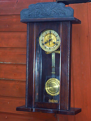 Antique Oak Cased Striking Vienna Wall Clock Nice Condition Keeps Good Time Gwo