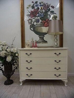 Vintage French Provincial Cream Tallboy ~ Chest Of 4 Drawers * Dressing Table