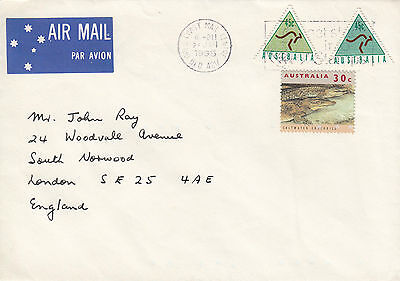 F 1029 ATM Kangaroo stamps on 1995 airmail cover to UK; $1.20 rate; 3 stamps