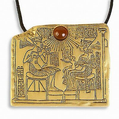"Gold-Plated Egyptian Royal Family Queen Nefertiti Pin/Pendant 1.75"" W x 1.25 H"