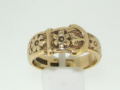9ct yellow gold patterned buckle ring size M 1/2