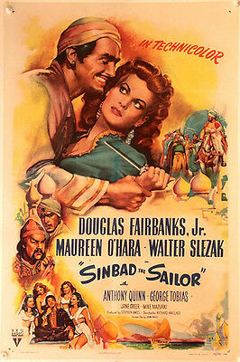 SINBAD THE SAILOR Linen backed US One Sheet (1947)
