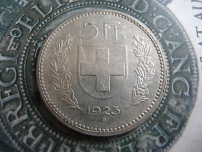 switzerland large .900 silver 5 franc coin 1923 high grade